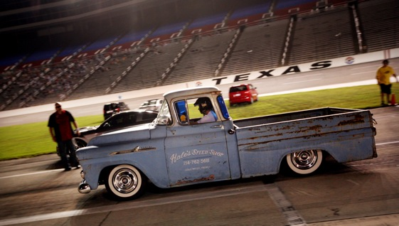 Driver Nathan Hale, of Lewisville, TX runs his 1958 Chevy pickup in the Sportsman Division during the Scion Drag-n-Brag at Texas Motor Speedway. (Photo By Tom Pennington/Getty Images for the Texas Motor Speedway)