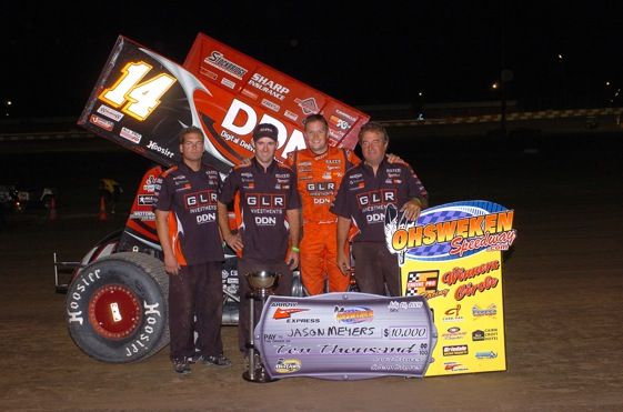 Jason Meyers in Victory Lane at Ohsweken.  (World of Outlaws photo by Alex & Helen Bruce)
