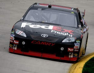 Denny Hamlin claimed the pole at Auto Club Speedway Friday. (Photo by Rusty Jarrett/Getty Images)
