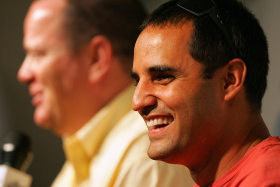 In 2006 at Chicago, Juan Pablo Montoya and Chip Ganassi announced Montoya's big career move. (NASCAR photo)