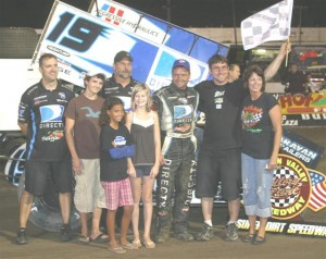 Craig Dollansky in the winner's circle. (World of Outlaws photo by Dave Dalesandro/MSI Photography)