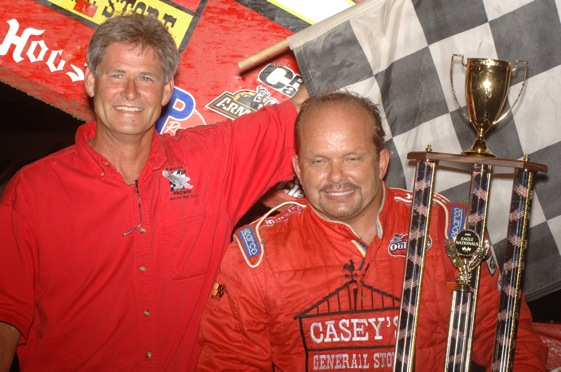 Danny Lasoski celebrates in victory lane (World of Outlaws Photo by Ken Simon)