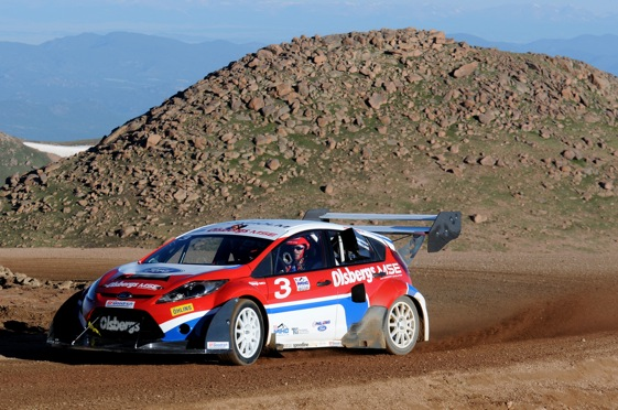 Marcus Gronholm in the Boulder Park section of the Pikes Peak International Hillclimb during practice. (Photo by Paul Webb/Ford Racing)