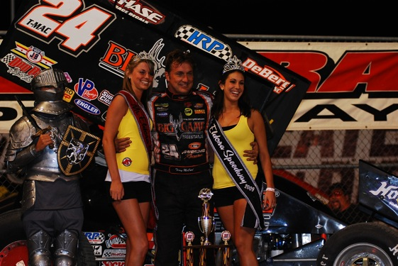 Terry McCarl in Victory Lane (World of Outlaws photo by Doug Vandeventer)