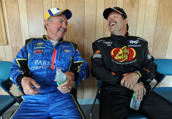 Hershel McGriff apparently can also still deliver some laughs at 81 years old. (Photo by Steve Dykes/Getty Images for NASCAR)