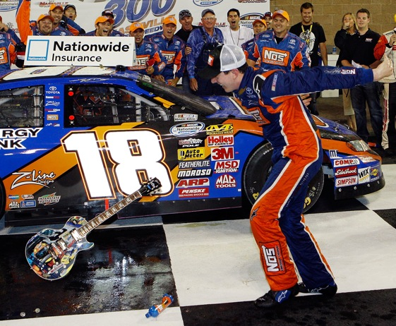 Some people thought that Kyle Busch was a crashing boor the last time he was in Nashville.  (Photo by Chris Graythen/Getty Images for NASCAR)