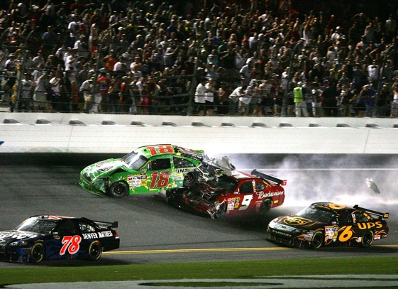 The car of Kyle Busch gets hit from behind by that of Kasey Kahne during Sunday's race at Daytona. (Photo by Jerry Markland/Getty Images for NASCAR)