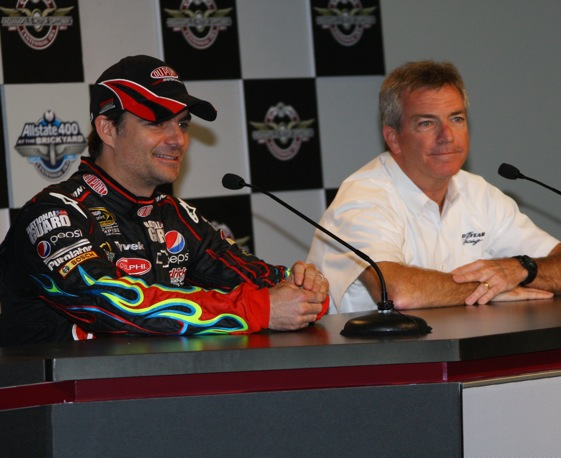 Jeff Gordon and Greg Stucker of Goodyear were pleased with the recent tire tests at Indy. 