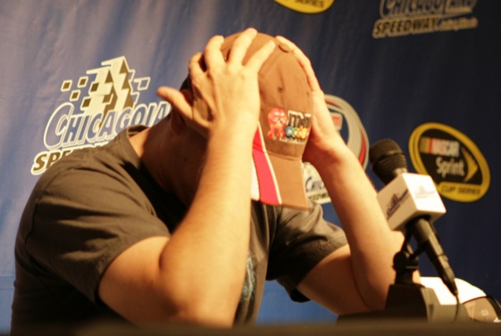 Kyle Busch reacts to questions at Thursday press conference at Chicagoland Speedway (RacinToday.com photo by Mark Henderson/Really Really Big Industries)