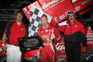 Joey Saldana celebrates his win. (World of Outlaws photo by Dennis Krieger)