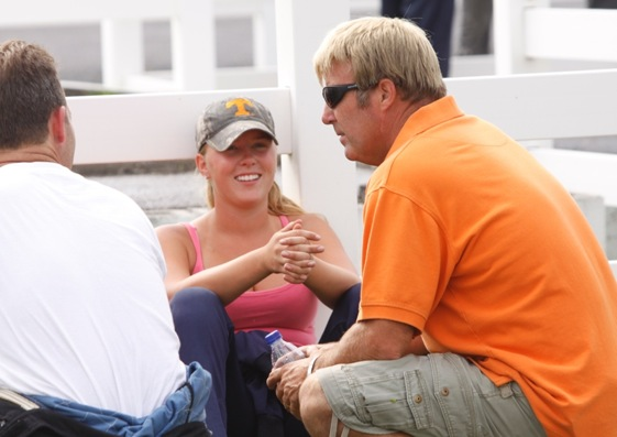 Sutherlin Marlin and father Sterling Marlin talk racing during a break in action at Fairgrounds Speedway in Nashville. (Photo special by Tammy Brewington)