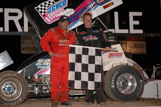 Danny Lasoski (left) and Stevie Smith (right) each won one of the Twin 30 lap features and Lasoski was the overall Don Martin Memorial Silver Cup Champion based on having the best average finish in the two races.  (World of Outlaws photo by Cyndi Craft)