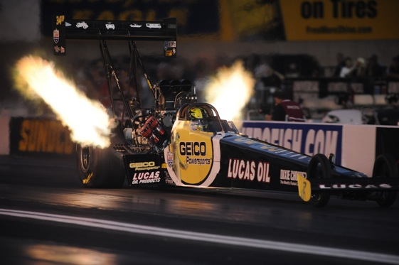 Morgan Lucas was fastest in Top Fuel qualifying Friday at Maple Grove.