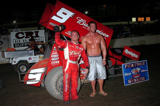 The winner's circle at the inaugural Ironman 55 (World of Outlaws photo by Tommy Hein)