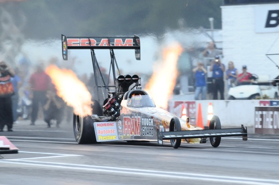 Cory McClenathan leaves the line in a hurry during the NHRA event in Brainerd, Min. this weekend. (Photo courtesy the NHRA)