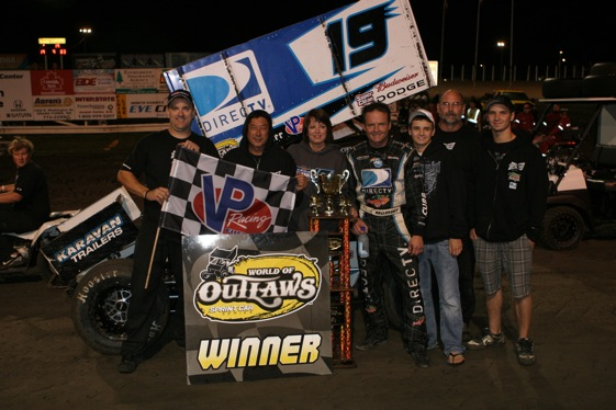 Craig Dollansky celebrates his win. (World of Outlaws photo by Chad Spieker )