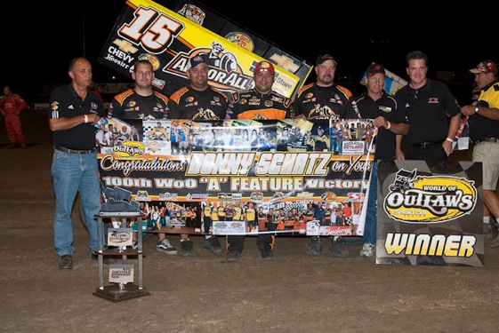 Donny Schatz celebrates a milestone win. (World of Outlaws photo by Layne Mudder)