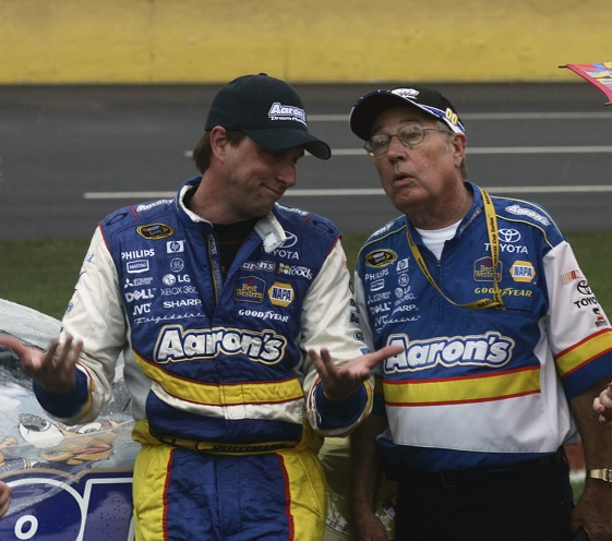 David Reutimann and his father, Buzzie, at Lowe's Motor Speedway in May. Reutimann got his first victory that day. (Photo by Jason Smith/Getty Images)