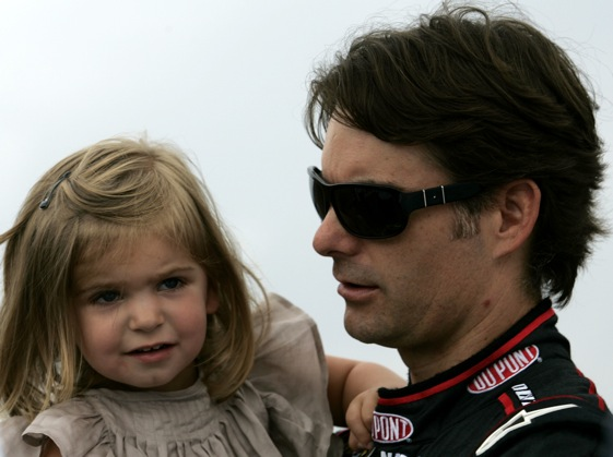 Jeff Gordon and his daughter Ella Sophia at Watkins Glen on Sunday. On Monday, Gordon was involved in a horrible wreck.  (Photo by Todd Warshaw/Getty Images for NASCAR)