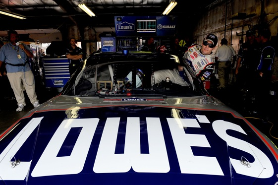 Jimmie Johnson will slide into his car this afternoon at a track which most NASCAR drivers seem to love. (Photo by Rusty Jarrett/Getty Images for NASCAR)
