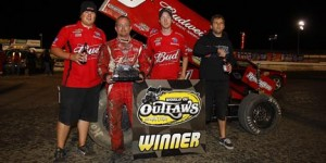 Joey Saldana celebrates his sweep. (World of Outlaws Photo by Perry Nelson)