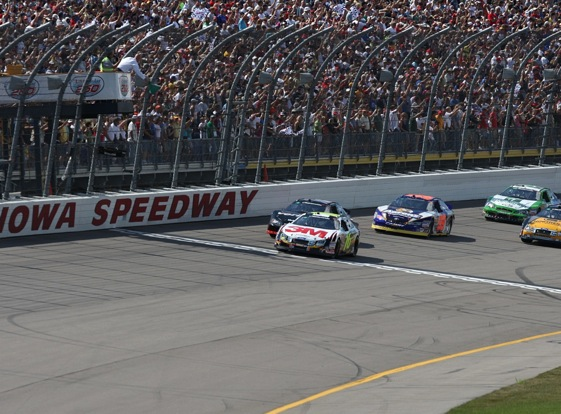 Ricky Stenhouse Jr. brought the field to the green flag Saturday at Iowa Speedway. Many feel he will soon be bring fields to the checkered flag.  (Photo by Jonathan Daniel/Getty Images)