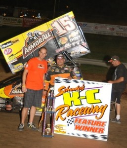 Donny Schatz celebrates (World of Outlaws Photo by Mark Miefert)