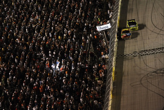 Kyle Busch edges Mark Martin for the victory at Bristol Saturday night. (Photo by Ronald Martinez/Getty Images)