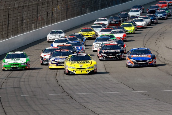 The racing was side-by-side during Saturday's Nationwide Series race at Michigan International Speedway.  (Photo by Jason Smith/Getty Images)