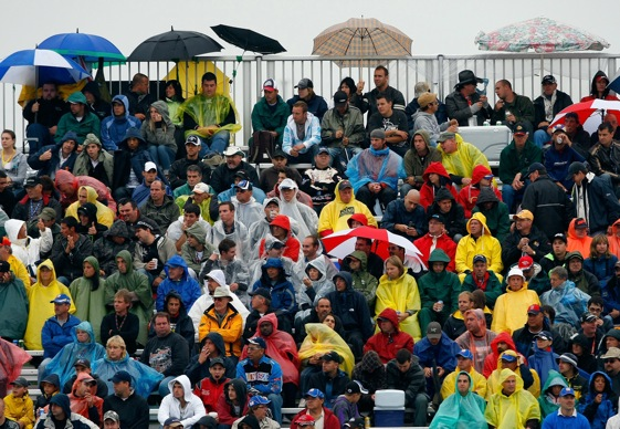 Fans who sat through a weekend of wet weather were rewarded with a big finish in Sunday's Nationwide Series race.  (Photo by Jason Smith/Getty Images)