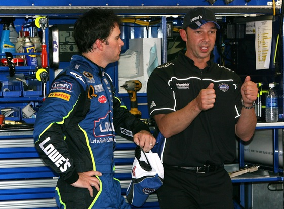 Jimmie Johnson and crew chief Chad Knaus have heard a lot about the futility in road races this week.   (Photo by Kevin C. Cox/Getty Images)