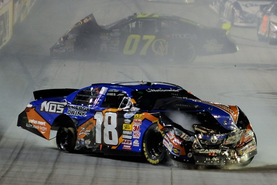 Trouble found Kyle Busch in Friday's Nationwide Series race at Bristol.  (Photo by John Harrelson/Getty Images)