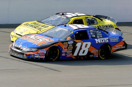 Kyle Busch and Brian Vickers fought during the Nationwide race and after at Michigan last Saturday.  (Photo by John Harrelson/Getty Images for NASCAR)