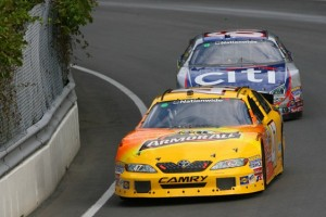 Marcos Ambrose led Carl Edwards until a final-turn misstep relegated him to a second-place finish. (Photo by Jason Smith/Getty Images)