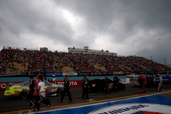 Dark clouds moved in over the Watkins Glen track Sunday. The rain from those clouds then moved the Sprint Cup race to Monday.  (Photo by Chris Graythen/Getty Images)