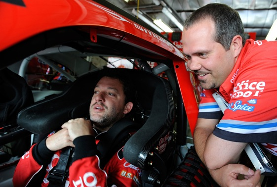 Tony Stewart has borrowed a lot from Hendrick Motorsports, including crew chief Darian Grubb.  (Photo by Rusty Jarrett/Getty Images for NASCAR)