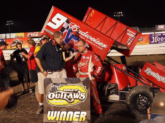Joey Saldana  celebrates in Victory Lane (World of Outlaws Photo by Pam Linton)