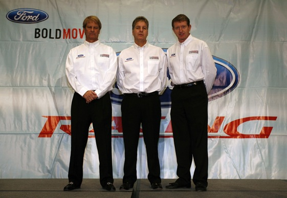 Eddie Wood, Len Wood and their driver, Bill Elliott. (Photo by Jason Smith/Getty Images )