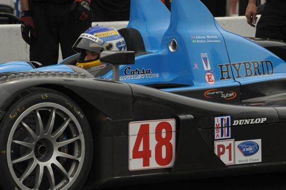 Stefan Johansson's American Le Mans Series car is black and blue and green. (Photo courtesy the American Le Mans Series)