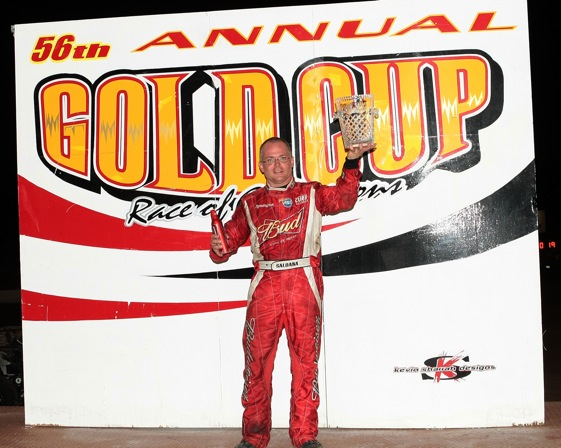 Joey Saldana celebrates his Gold Cup Win. (World of Outlaws photo by Steve Lamothe)