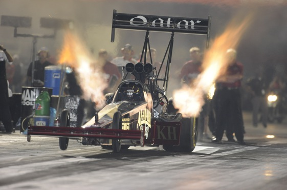 Larry Dixon heads for the top qualifying spot in Top Fuel at U.S. Nationals.