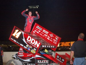 Jason Meyers celebrates. (World of Outlaws photo by Jason Durst)