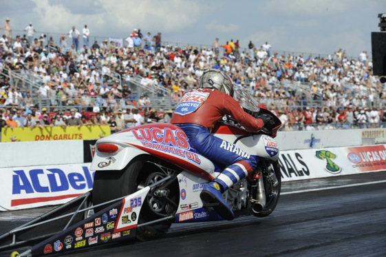 Hector Arana is on the rise in the NHRA Pro Stock Motorcycle division. (Photo courtesy of the NHRA)