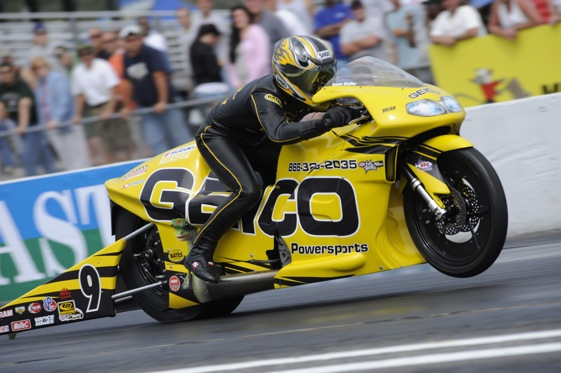 Karen Stoffer says the bike her Geico team brought to the Nationals is good enough to keep her in the top 10 in points. (NHRA File Photo)