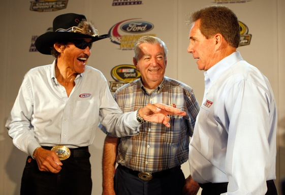 Richard Petty swapped racing stories with fellow Cup champions Bobby Allison and Darrell last year at Homestead. Petty also has a few stories to tell about Georgia. (Photo by Sam Greenwood/Getty Images)