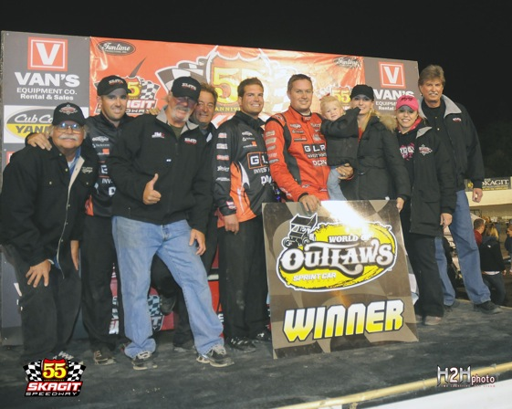 Jason Meyers celebrates at Skagit Speedway. (World of Outlaws photo by Brian Simenseth)