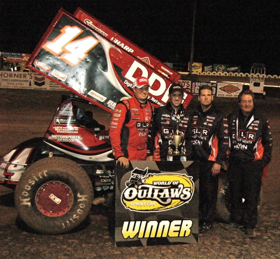Jason Meyers celebrates in Victory Lane (World of Outlaws photo by Craig Murphy)