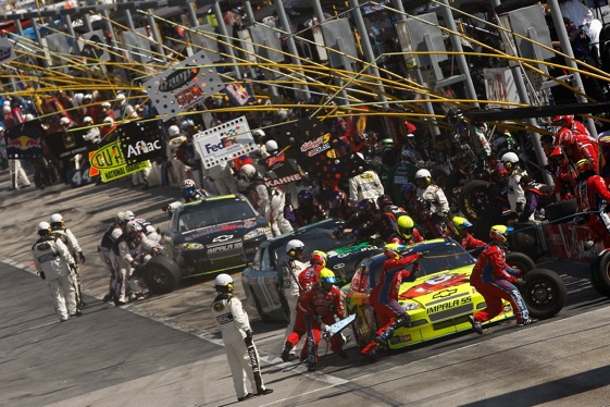 The pits at Atlanta Motor Speedway can be a dangerous place on race days.  (Photo by Chris Graythen/Getty Images)
