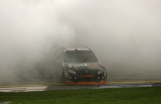 Denny Hamlin was burning mad at the tires Goodyear brought to Dover on Friday. (Photo by Jerry Markland/Getty Images for NASCAR)