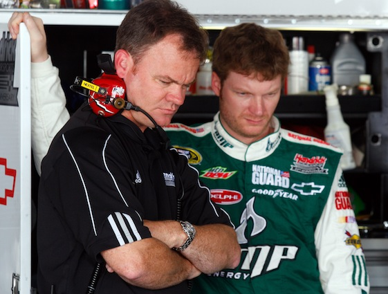 Dale Earnhardt Jr. and crew chief Lance McGrew will be watching all the fun for the next 10 weeks. (Photo by Jason Smith/Getty Images for NASCAR)